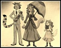 1910 Cat Family-Sepia Color by SherryHillArt