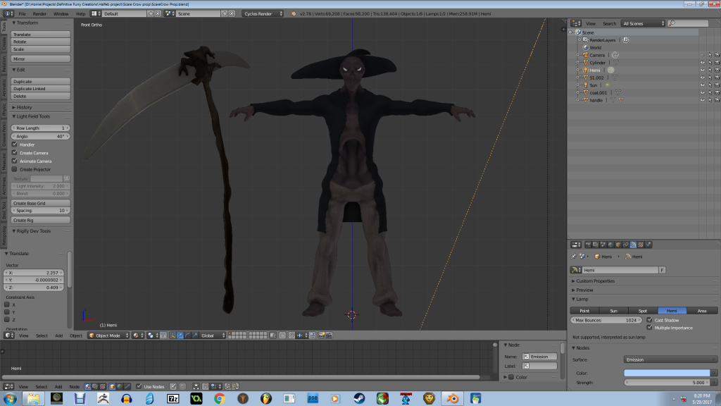 Scarecrow model by Jellofox, blender, model, scarecrow, sculpt