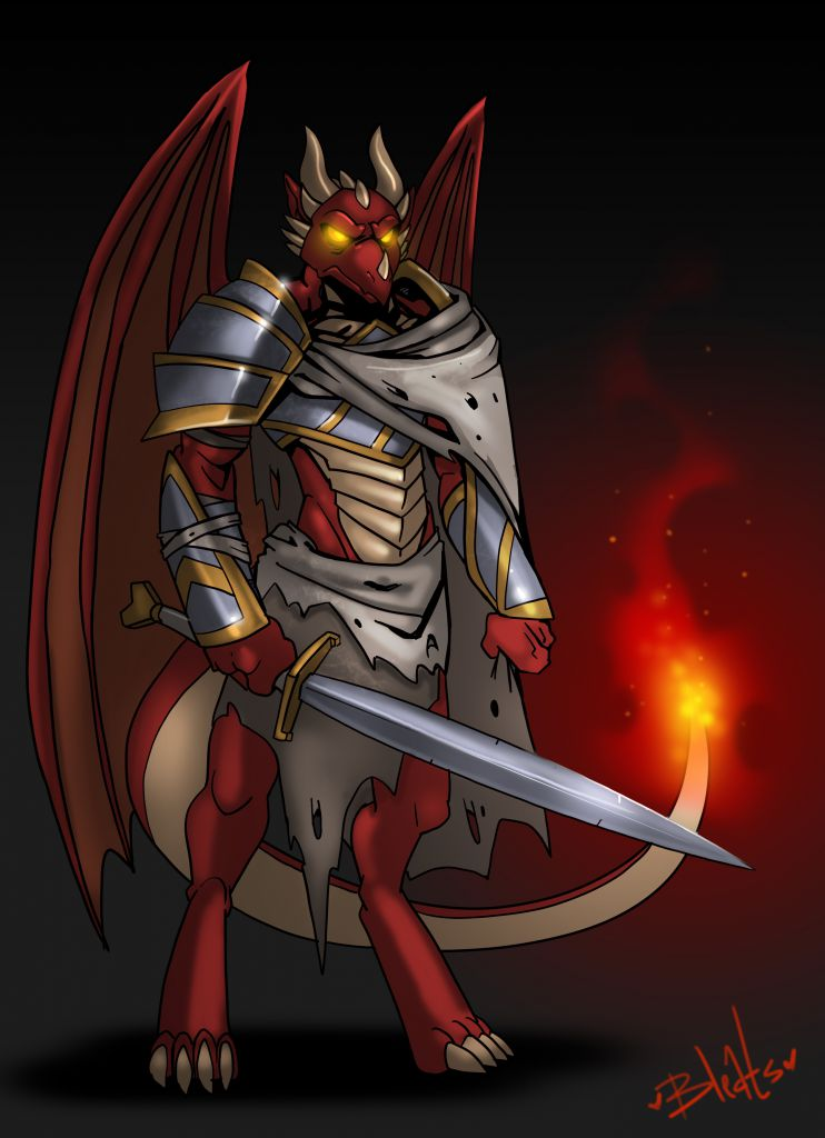 Dragonborn Warrior by Bleats, Male, Solo, Anthro, Dragon, DragonBorn, Armor, Weapon, Sword, Fire, Flame, Wings, Horns, Art, Digital, Commission